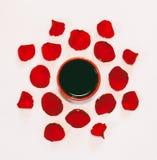 Tasse de café et pétales de modèle de roses rouges sur le fond blanc Images stock