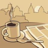 Tasse de café et papier d'actualités sur la table Illustration de monochrome de vintage de vecteur Croquis tiré par la main pour  Images stock