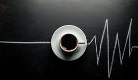 Tasse de café, impulsion de coeur Images libres de droits