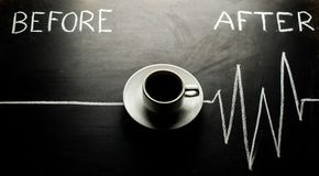 Tasse de café, impulsion de coeur Image stock