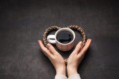 Tasse de café noir pour des amants de café Photographie stock libre de droits