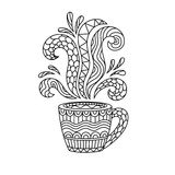 Tasse de café ou tasse de thé avec les modèles abstraits dans le style du zen Photographie stock libre de droits