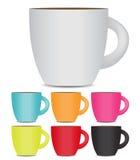 Tasse de café réglée sur le fond blanc photo Images stock