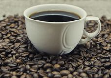 Tasse de café se tenant sur les grains Images stock
