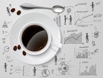 Tasse de café sur le croquis d'affaires Image stock