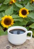 Tasse de café sur le fond de tournesols Images libres de droits