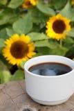 Tasse de café sur le fond de tournesols image stock