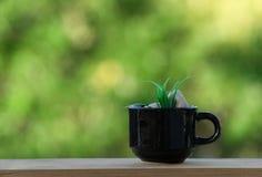 Tasse de café sur le plancher et le fond en bois de bokeh Photographie stock