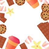 Tasse de café, une barre de chocolat, biscuits, guimauves Fond de confiserie illustration libre de droits