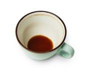 Tasse de café vide bleue d'isolement sur le fond blanc Photos libres de droits