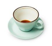 Tasse de café vide bleue d'isolement sur le fond blanc Image libre de droits