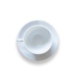 Tasse de café vide de vue supérieure après boisson sur la table en bois d'isolement dessus Image libre de droits