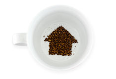 Tasse de café - fortune indiquant la nouvelle maison Photos libres de droits