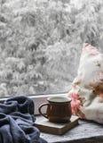 Tasse de café, livre, oreillers et un plaid sur la surface en bois légère contre la fenêtre avec la vue de jour pluvieux Type de  Image libre de droits