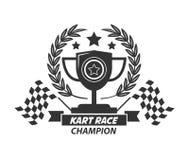 Tasse de champion de logo de Karting, guirlande de laurier, étoiles et drapeaux illustration de vecteur