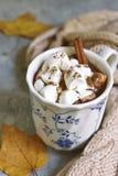 Tasse de chocolat chaud avec de la mini cannelle de marshmellows images stock