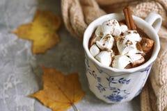 Tasse de chocolat chaud avec de la mini cannelle de marshmellows images libres de droits