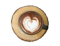 Tasse de chocolat chaud avec la forme de coeur d'isolement sur le backgrou blanc Image stock