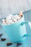 Tasse de chocolat chaud avec les guimauves et la menthe poivrée Photographie stock libre de droits