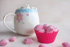 Tasse de chocolat chaud et de sucrerie Images stock