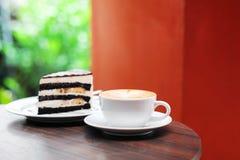 Tasse de gâteau de café et de chocolat Image libre de droits