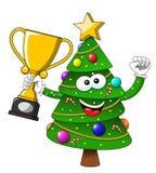 Tasse de gagnant de mascotte de caractère de Noël heureux ou de Noël d'isolement sur le blanc illustration stock
