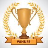 Tasse de gagnant Trophées avec la guirlande de laurier illustration stock