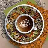 Tasse de griffonnages de café et de temps de thé Photos stock