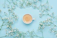Tasse de matin de gypsophila de café et de fleur sur la table bleue d'en haut Style confortable de configuration d'appartement de Photos libres de droits