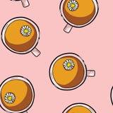 Tasse de modèle sans couture de bande dessinée mignonne d'infusion de camomille Tuile de fond de texture illustration stock