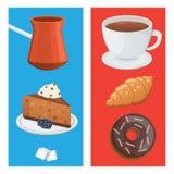 Tasse de nourriture de café, de cappuccino, de latte et de chocolat Temps doux de déserts illustration de vecteur
