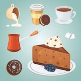 Tasse de nourriture de café, de cappuccino, de latte et de chocolat Temps doux de déserts illustration libre de droits