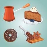 Tasse de nourriture de gâteau de café, de latte et de chocolat Temps doux de déserts illustration de vecteur