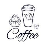 Tasse de papier et bonbons de café dans le style graphique image d'isolement par vecteur croquis Photographie stock libre de droits