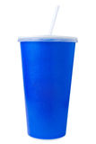 Tasse de papier jetable bleue sur le blanc image stock