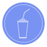 Tasse de papier ou en plastique avec l'icône de paille à boire Fond bleu de cercle Photographie stock libre de droits
