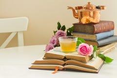 Tasse de pièce en t avec des livres Photographie stock libre de droits