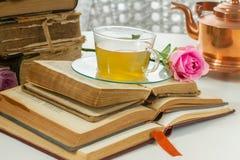 Tasse de pièce en t avec des livres Photographie stock