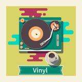 Tasse de plaque tournante de vinyle de café sur l'illustration plate de table Image libre de droits