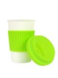 Tasse de porcelaine avec la douille et le couvercle thermo photographie stock