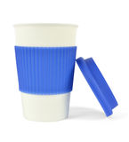 Tasse de porcelaine avec la douille et le couvercle thermo bleus photos stock