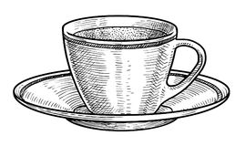 Tasse de porcelaine d'illustration de thé, dessin, gravure, encre, schéma, vecteur illustration de vecteur