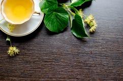 tasse de porcelaine de thé de tilleul sur un fond de bois foncé Photos libres de droits