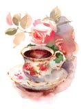 Tasse de porcelaine de vintage de Berry Tea et de roses d'aquarelle toujours de l'illustration de la vie tirée par la main illustration stock