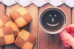 Tasse de sourire de café bonjour Photos stock