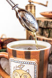 Tasse de thé avec le tamis Images stock