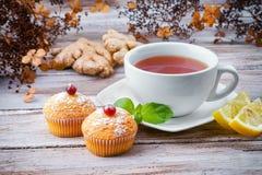 Tasse de thé avec les petits pains et le gingembre Images libres de droits
