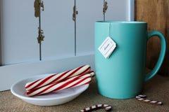 Tasse de thé avec une étiquette rêveuse Photos stock