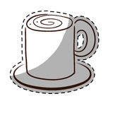 Tasse de thé blanche de coffe avec l'icône de soucoupe Images libres de droits
