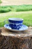 Tasse de thé bleue antique images stock